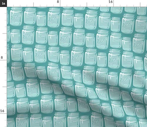 - Turquoise Mason Jar Fabric - Jars Vintage Retro Kitchen Glass Spoon Party Print on Fabric by The Yard - Petal Signature Cotton for Sewing Quilting Apparel Crafts Decor