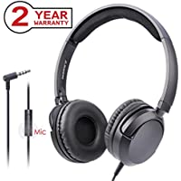 [2 Year Warranty] Avantree Superb Sound Lightweight Wired Headphones with Microphone, for Adults, Students, Kids, Boys Girls, On Ear Headsets Fold Flat, for Phone, PC, Laptop, iPad, Tablet - HF026