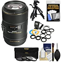 Sigma 105mm f/2.8 EX DG OS HSM Macro Lens with 3 Filters + Macro Ring Light + Tripod Kit for Canon EOS DSLR Cameras