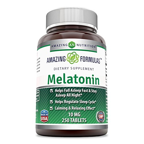 Amazing Nutrition Melatonin for Relaxation and Sleep, 10 Mg, 250 Tablets Economy Size by Amazing Nutrition