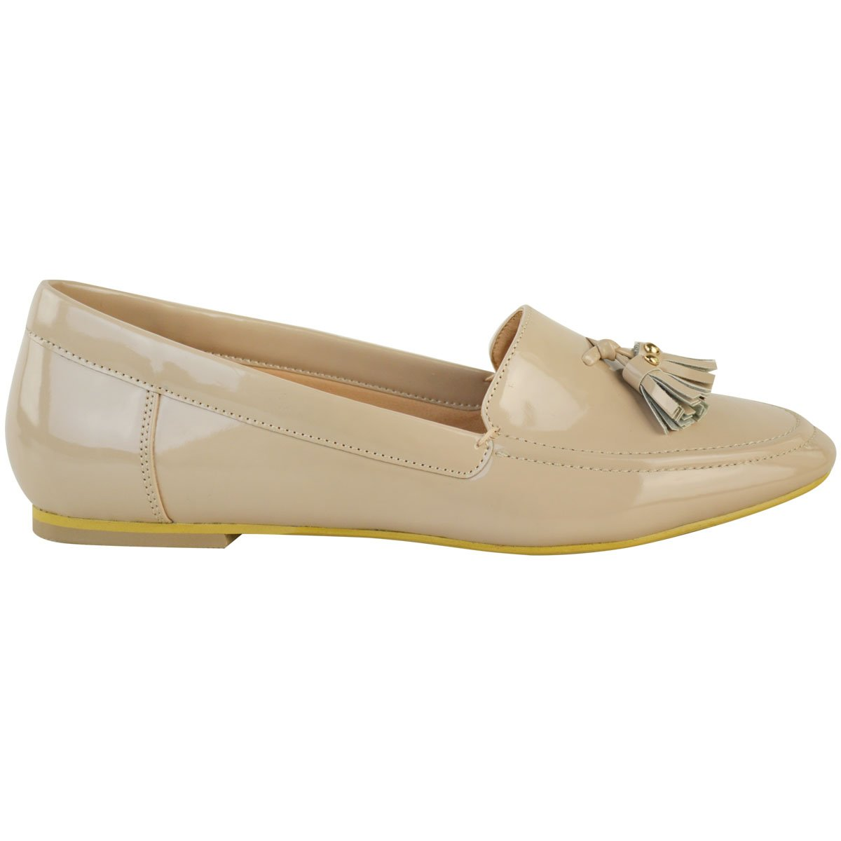 plano mujer Casual Oficina Borla Mocasines BOMBAS Deslizante Zapatos de colegio Talla - Charol Nude, 39: Amazon.es: Zapatos y complementos