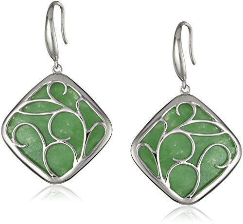 Rhodium-Plated Sterling Silver Green Jade Drop Earrings