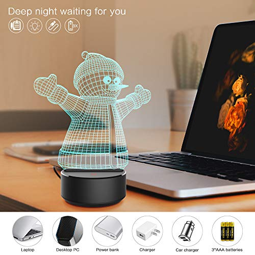 Hot Tuscom 7Colors Optical Illusion Cute Christmas Snowman Acrylic Lights with USB Cable,210x150x55mm forTable Desk Party Lamp Decor (Clear) ()