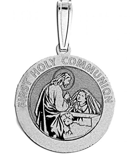 Sterling Silver First Holy Communion Medal (for a Girl) - 3/4 Inch Size of a Nickel -Sterling ()