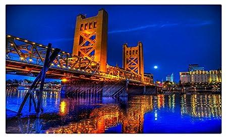 Estados Unidos ríos puentes noche de California Sacramento ...