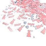 JZK 4 packs pink girl baby shower confetti baby christening confetti baby birthday confetti, children party table confetti scatter decoration, BABY & rabbit & heart & star