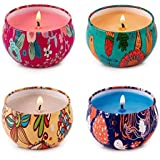HITHYS Scented Candles Set for Women Rose Jasmine, Orange, Coffee and Seasalt Lilac, Natural Soy Wax Travel Tin Candles…