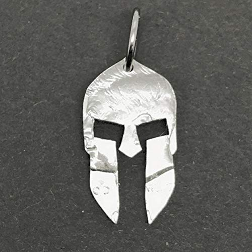 Spartan Helmet Necklace Jewelry or Key Ring Made From a Half Dollar