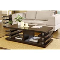 Architectural Inspired Dark Espresso Living Room Coffee or Tea Table