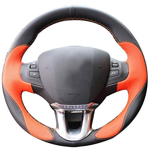 MWPO Black leather orange leather steering wheel Peugeot 208 Peugeot 2008: