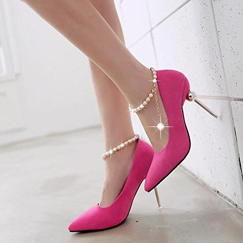 Los Boca De TacóN Zapatos Zapatos La Moldeados De Con Boda Hebilla apuntado Moldeados De La Pink Mujeres Cortan Alto De De Los La Zapatos Las g4zx4