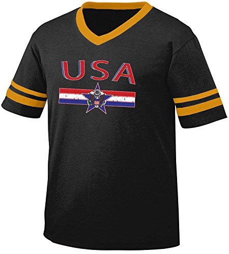 - Amdesco USA United Staes Flag and Country Emblem Men's Soccer Style Sport T-Shirt, Black/Gold 2XL