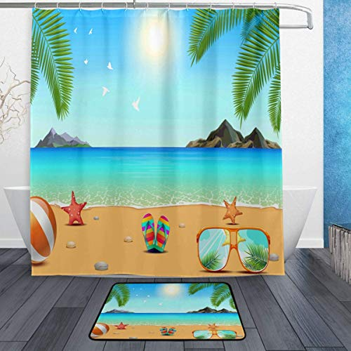 GoHeBe Starfish Seashell Sunglasses Background Pattern Shower Curtain Set 3D Printing Waterproof Coated Polyester Fabric Bathroom with 12 Hooks 71 inches Indoor Floor Mat Bath Rugs ()