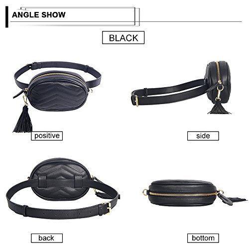 Elegant Leather Black Badiy Money Belt Waist Phone Pack Pouch Fanny Cell Bag Women Xwq6Sf
