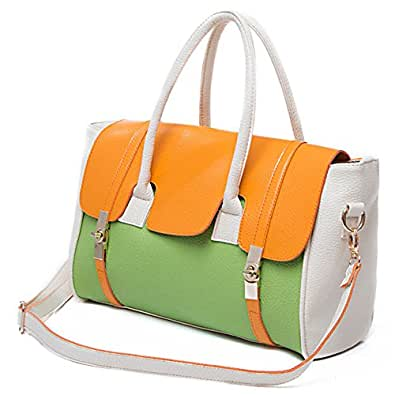 MG Collection SAFIYA Orange Green Textured Dual Turn Lock Office Tote
