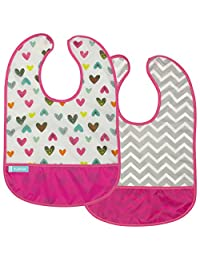 Kushies Baby B1183-2 Clean Bib Waterproof-Bib, White Doodle Hearts/Fuchsia Chevron, 12-Month-Plus