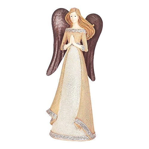 Praying Angel Ivory and Carmel Glitter 4 x 11.5 Resin Stone Christmas Tabletop Figurine - Angel Star Tabletop