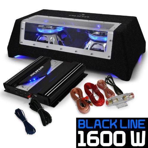 Auto Hifi Lautsprecherset Autoboxen Set Black Line 120 25cm Doppel-Subwoofer - heftige 1400 Watt Endstufen Power