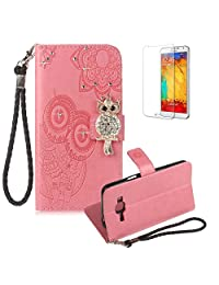 Funyye Pink Strap Cover for Samsung Galaxy J310,Cute 3D Diamond Owl Pattern Design Magnetic Flip Wallet Detachable Glitter Case with Stand Card Holder Slots Cover for Samsung Galaxy J3 2016,Anti Scratch Full Body Protective Soft Silicone PU Leather Case for Samsung Galaxy J310/J3 2016 + 1 x Free Screen Protector