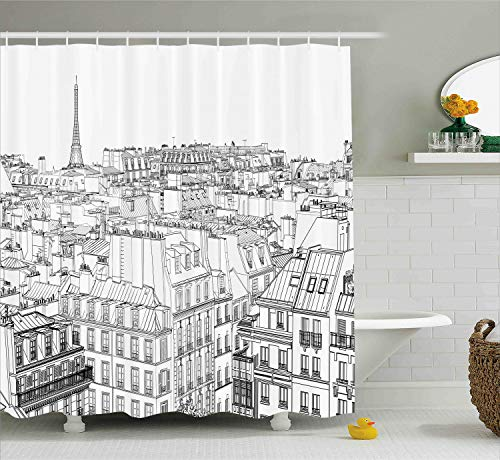 Ambesonne Paris Shower Curtain, Architecture Theme Design Illustration of Roofs in Paris and Eiffel Tower Print, Fabric Bathroom Decor Set with Hooks, 70 Inches, Black and White