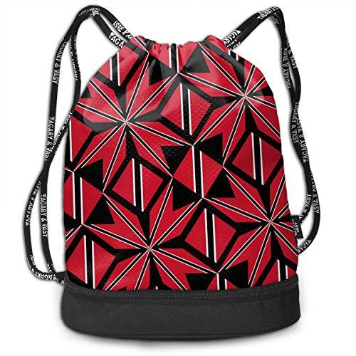 (OLOSARO Drawstring Bag Trinidad and Tobago Flag Artascope Flower Shoulder Bags Travel Sport Gym Bag Print - Yoga Runner Daypack Shoe Bags with Zipper and)