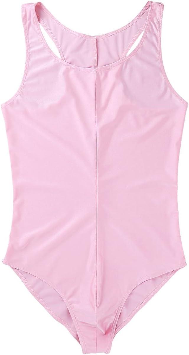 ranrann Mens One Piece Sleeveless Stretchy High Cut Thongs Leotard Bodysuit Crossdress Vest Tank Top