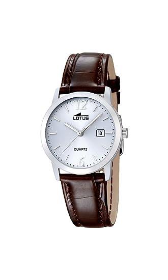 Lotus 18240/3 - Reloj de Cuarzo para Mujer, Esfera Blanca analógica y Correa de Piel marrón: LOTUS: Amazon.es: Relojes