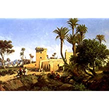 MOORISH BUILDINGS AT ELCHE SPAIN PAINTING BY ADOLPHE BALFOURIER ON CANVAS REPRO