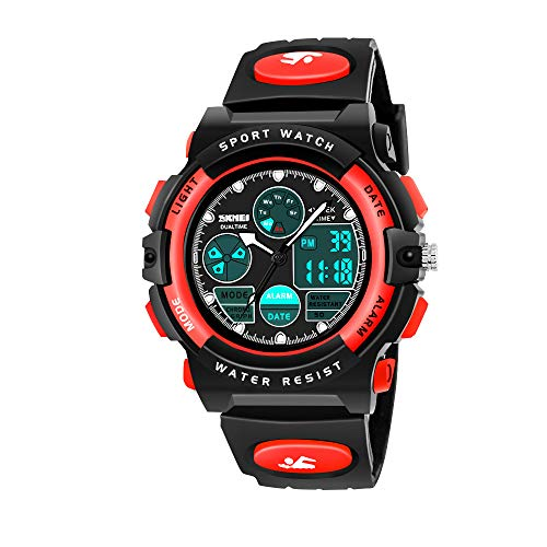 HODO Birthday Gifts for 6-15 Year Old Boys, Sports Digital Wrist Analog Watch for Kids Outdoor Toys for 6-15 Year Old Boys Popular Gifts for Teen Year Old Boys HDUSWC04 (Red) (Presents For 9 Year Old Boy Nz)