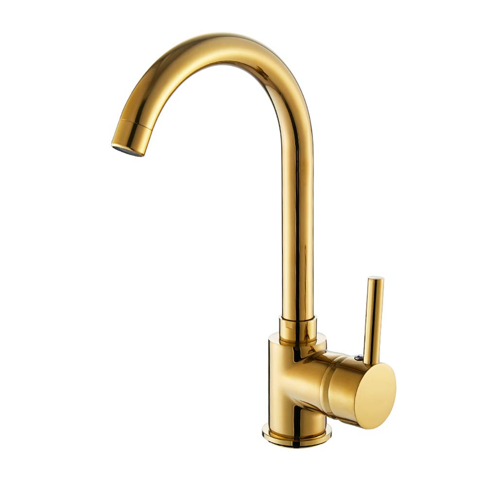 kitchen sink tap single lever mixer tap gold for 1 hole kitchen sink swivel spout brass basin kitchen one handle mixer tap(Gold)