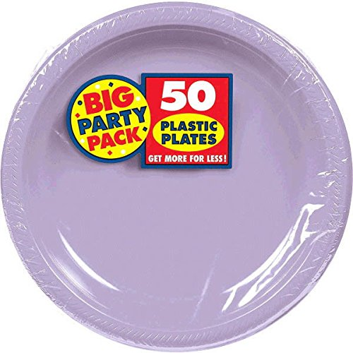 Amscan Big Party Pack 50 Count Plastic Lunch Plates, 10.5-Inch, Lavender AMI 630732.04