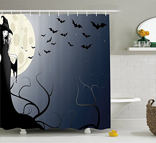Halloween Decorations Collection Wicked Witch in Twilight on High Hill at Hazy Dark Night Magic Fiction Tale Polyester Fabric Bathroom Shower Curtain Set with Hooks Black (Girls Twilight Witch Costume)