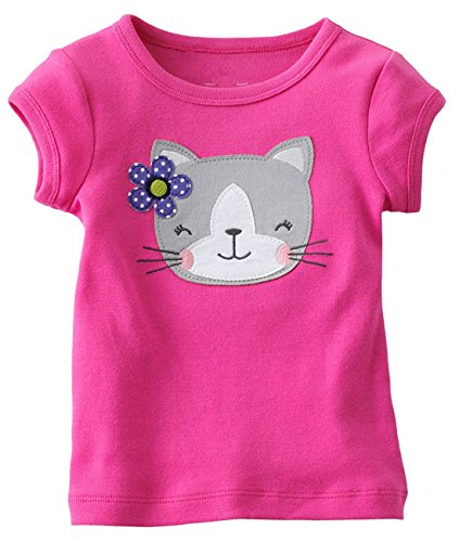 Girls Puff Sleeve Top (Baby Girls' Basic Cute cartoon Princess Short Puff Sleeve Round Neck T-Shirt)