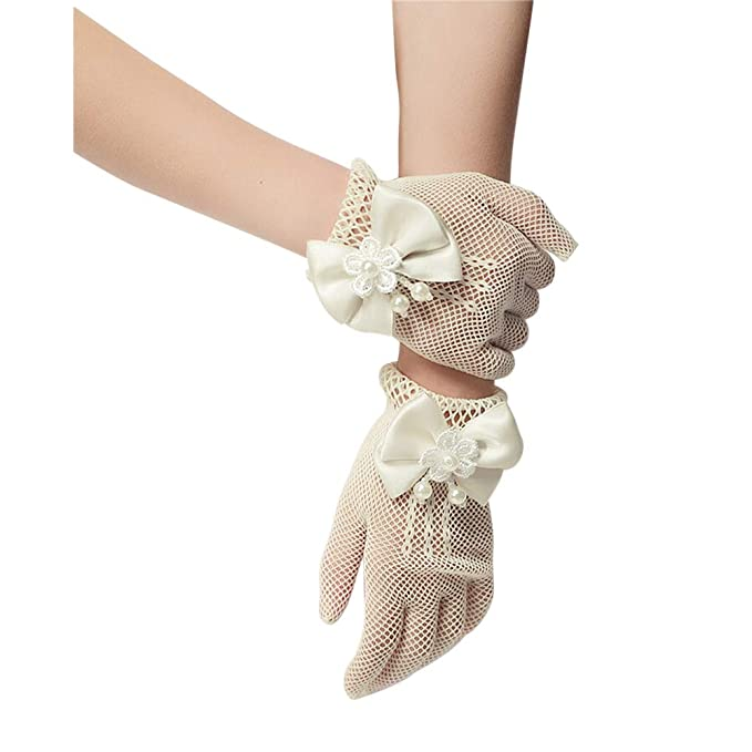 ce360d6eed9 Unilove Flower Girl s Lace Bowknot Net Voile Wedding Gloves Princess Glove (Ivory)
