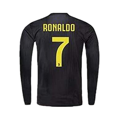 new style 2698a f3126 18/19 Season Juventus #7 Ronaldo Away Mens Long Sleeve Soccer Jersey Color  Black