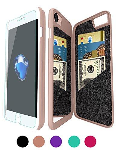 iPhone 6/6S Wallet Mirror Case for Girl -Bidear (TM) Creative Mirror Design with 3 Card Holder Slot Protective Hard Case for Apple iPhone 6 & iPhone 6S -4.7 Inch (Rose Gold)
