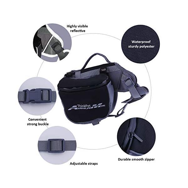 ThinkPet Outdoor Dog Backpack Reflective Saddle Bag - Dog Pack Double Bag for Hound Travel Rucksack for Medium Large Dogs 5