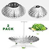 "stainless steel baby cooker - Godmorn Steamer Basket Stainless Steel for Instant Pot and Pressure Cooker, Folding Steamer Insert for Veggie Fish Seafood Cooking, Expandable Collapsible, 5.1""-9"",6"