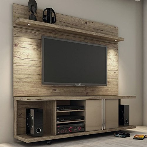 Manhattan Comfort Carnegie TV Stand & Park 1.8 Floating Wall TV Panel, Nature/Nude, 71Lx17.1Wx73H (Tv Stand Tall Narrow)