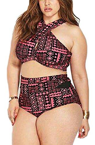 Summer Joy Women's Plus Size Padded Vintage Printing Halter High Waisted Bikini Set (Plus Size Bikinis)