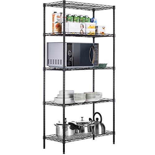 LANGRIA 5 Tier Wire Shelving Commercial Storage Rack for Organization with Adjustable Leveling Feet Shelving Unit 275 lbs Weight Capacity, Black