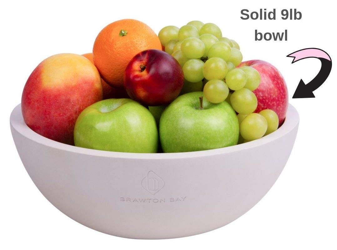 Decorative Fruit Bowl for Kitchen or Dining Room, Concrete, White - Extra Large Food Bowls for Snacks, Candy - Handmade Kitchen Accessories for Tables and Countertops, 12'' Diameter by Brawton Bay (Image #2)
