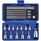 """Torx Star Bit Socket Set,1/2"""" 3/8"""" 1/4"""" Drive,T8 - T70,Cr-V Steel,13 Pieces"""