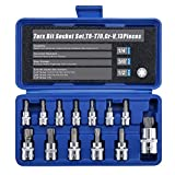 Torx Star Bit Socket Set,1/2'' 3/8'' 1/4'' Drive,T8 - T70,Cr-V Steel,13 Pieces