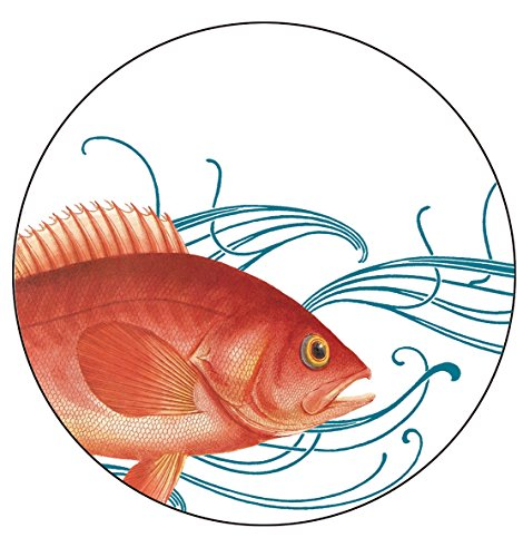 Caskata Studio 4 Count Melamine Tidbit Topper Boxed Plate Set, Fish