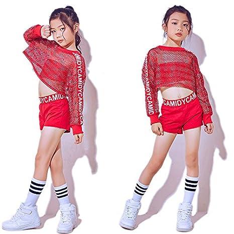 5fb18eaa66f9 Moyuqi nuovi bambini Jazz Dance Girls costumi Red net tuta hip hop Modern  Dance Stage costumi
