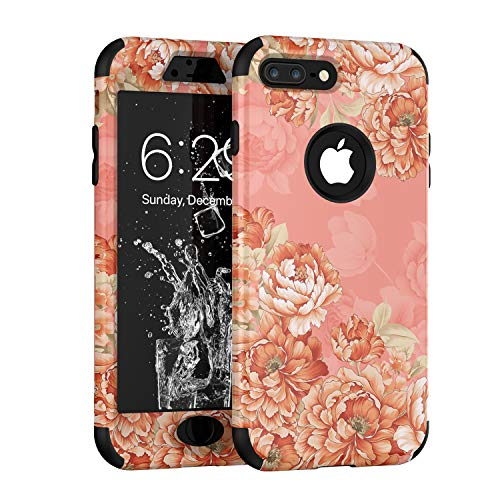 iPhone 8 Plus Case, Yoomer 3 in 1 Unique Cute Flower Design Shockproof Hybrid Armor High Impact?Defender Case Silicone Rubber Skin Hard Back Cover Combo Bumper Case for iPhone 8 Plus 5.5
