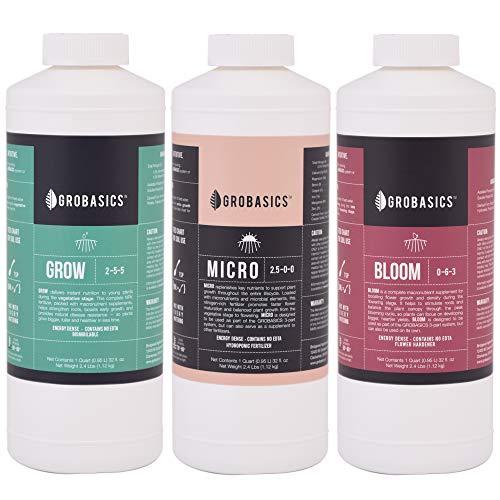 (GROBASICS 3-Part Kit, Quarts (32oz Bottles) | Complete Growing System | Organic Amino Acids and Microbes for Maximum Uptake)