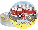 Disposable Plates - 80-Count Paper Plates, Firetruck Party Supplies for Appetizer, Lunch, Dinner, and Dessert, Kids Birthdays, 9 inches in Diameter