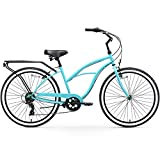 """sixthreezero Around The Block Women's 7-Speed Beach Cruiser Bicycle, 26"""" Wheels, Teal Blue with Black Seat and Grips"""